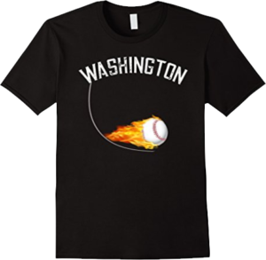 Washington State or DC Ball on Fire Flaming Baseball T shirt