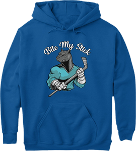 Hockey Bite my stick Rottweiler dog sports hoodie
